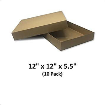 Brown Cardboard Kraft Apparel Decorative Gift Boxes With Lids For Clothing And Gifts 12x12x5