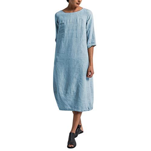 Women's Cotton Linen Dresses,Sharemen Summer Sleeve Baggy Sundress Plue Size Comfortable Shirt(Light - Console Maxi Light