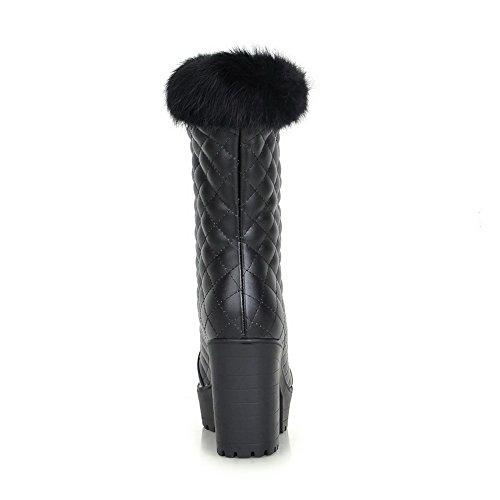 Round Heels Chunky and High Toe Black Boots Toe Closed Women's AmoonyFashion Heels with Checks 6xTRwf