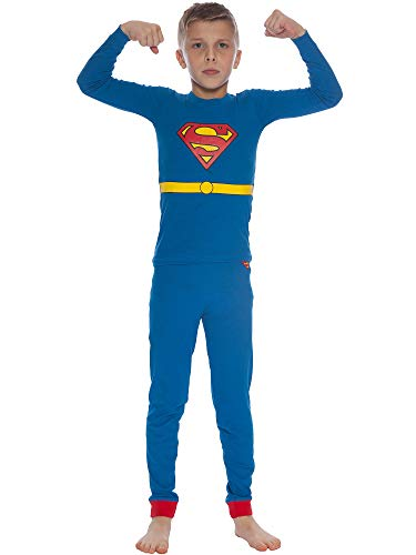 DC Comics Boys' Little Superman Costume Pajama Set, Blue, -