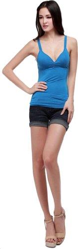 para sin Anuncios tirantes mangas mujer azul de Camiseta wqppRYt1