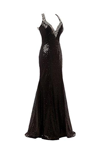 ivyd ressing Mujer luxurioes V de lentejuelas Recorte de piedras fiesta vestido Prom para vestido de noche negro