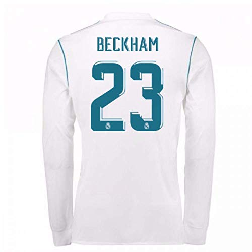 - 2017-18 Real Madrid Long Sleeve Home Football Soccer T-Shirt Jersey (David Beckham 23)