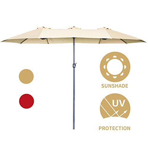 Aclumsy 15 Ft Outdoor Patio Umbrella Double-Sided Outdoor Market Umbrellas with Crank Lift with Crank – Beige