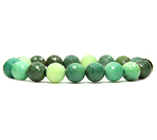 Amandastone Natural Faceted Green Chrysoprase Gemstones Healing 10mm Beaded Stretch Bracelet 7