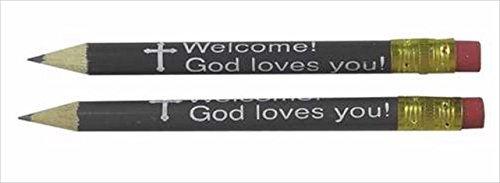 Pew Pencils with erasers Welcome God Loves You Pack of 144 by Swanson Christian Supply (Image #1)
