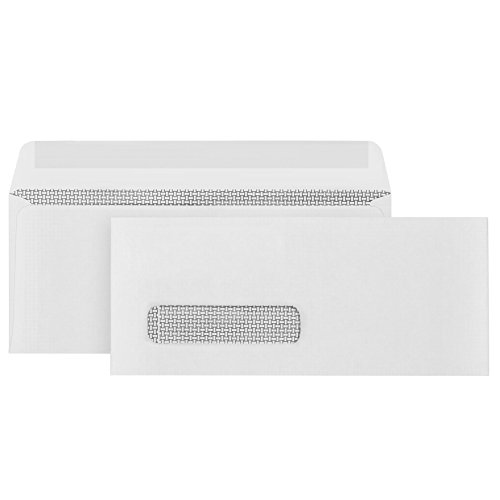 500 9 Single Window Security Envelopes, Thick Gummed Seal, Designed for Secure Mailing of Payroll Checks, QuickBooks Invoices, Return Mail, and Business Statements – 3 7/8 x 8 7/8 ()