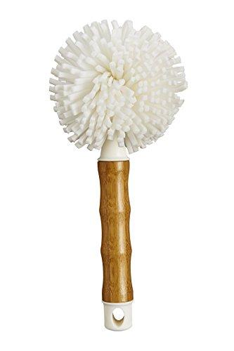 HIC Harold Import 42002 Co. Bamboo Glass Brush, White