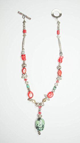 Malachite Pendant combined with Red Coral with uniquely designed Silver beads to created a necklace of beauty and - Necklace Malachite Coral