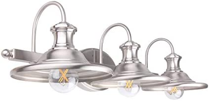 LIT-PaTH 3 Light Bathroom Vanity Light Fixture, Wall Sconce, E26 Base 60W Max for Each, Plating Nickel Finish, Bulbs not Included