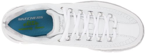 Womens Walking White Silver Elite Sport Skechers Athletic Status Leather Silver Synergy Sneaker White F5UnvYq
