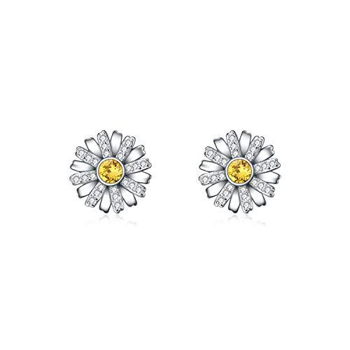 AOBOCO Sterling Silver Daisy Flower Earrings Ear Studs with Swarovski Crystal,Hypoallergenic Jewelry Gift for Women Girls