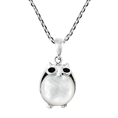 AeraVida Cute and Chubby Night Owl with Mother of Pearl Shell .925 Sterling Silver Pendant Necklace ()