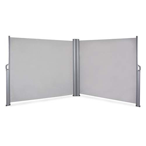 - Belleze 19.6 x 5.2FT Privacy Screen Shade Retractable Double Side Awning Patio UV Waterproof Divider Fence, Gray