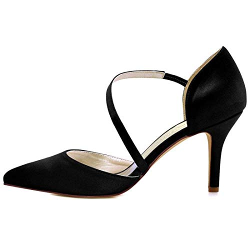 Heel Heel Feste da Colore Matrimonio Le Black Black Dimensione 9cm 5 ZHRUI per UK Black 6 Scarpe Donna Heel Moda 9cm alla di 4wx0Rq5