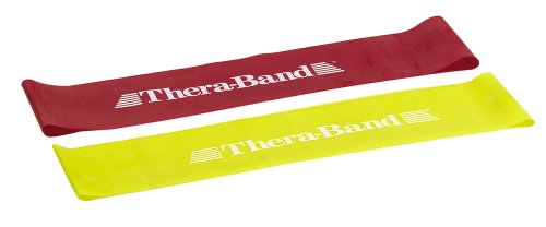 TheraBand Resistance Band Loop Set, Professional Latex Mini Band, Lower Pilates, Crossfit, Yoga, Stretching, Physical Therapy, Strength Training no Weights, 12 Inch, Yellow & Red & Green, Beginner Set