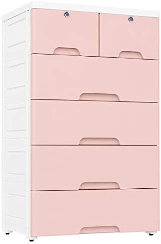 Nafenai Plastic Drawers Dresser,Storage Cabinet with 6 Drawers,Closet Drawers Tall Dresser Organizer for Clothes,Playroom,Bedroom Furniture, Pink