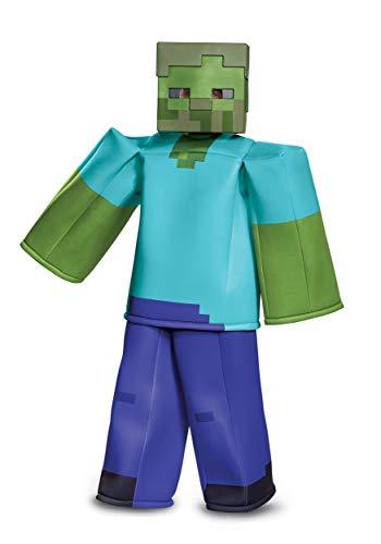 Disguise Zombie Minecraft Prestige Child Costume, Green,