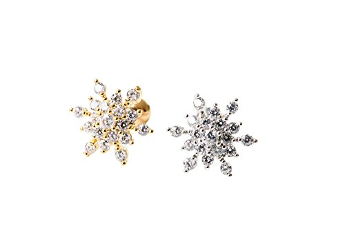 tilage ear studs cute cool earring tragus helix barbell for women teens girls men Cz Snow Winter Snowflake flower Tragus helix earring Piercing-MF (gold) ()