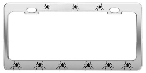Product Express Spiders Animal Pictures Funny Chrome Steel License Plate Frame TAG Holder (Spider License Plate Frame)
