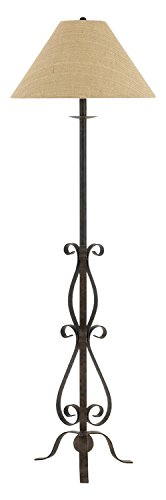 rough Iron Floor Lamp With Burlap Shade (Cal Lighting Mission Floor Lamp)
