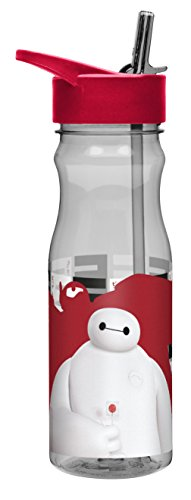 Zak! Designs Tritan Water Bottle with Flip-Up Spout and Straw featuring Disney's Big Hero 6, Break-resistant and BPA-free plastic, 25 oz.