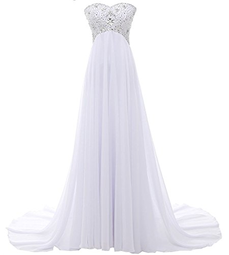 (Victoria Prom Women's A line Chiffon Long Beaded Wedding Dress Prom Gown Evening White us16)