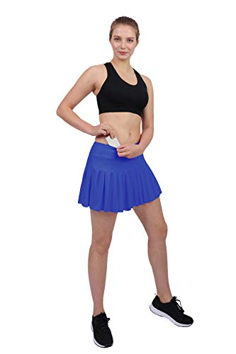 Womens Tennis Pleated Skorts Golf Workout High Waist Biult in Skirts Sports Active Wear with Pockets Blue