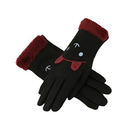 キュービック猫背治安判事LIZHIQIANG 手袋、女性の手袋、厚く保つタッチスクリーンサイクリングの乗り物運転手袋冬の手袋(4色) (色 : 黒)