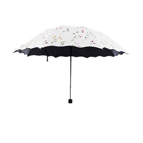 Ziwater Faltba Regenschirm Vinyl Sonnenschirm Supe UV-Schutz Taschenschirm Umbrella (Weiß)