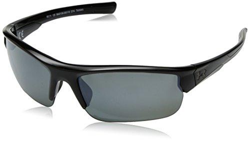 Storm Mirror - Under Armour Wrap Sunglasses, UA Propel Storm Shiny Black Frame/Gray Polarized/Silver Mirror Lens, m