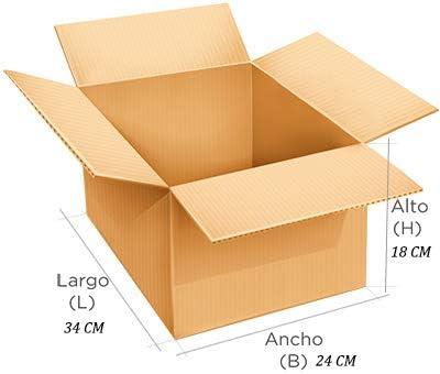 Pack de 20 cajas de cartón. Simple 34 x 24 x 18 cm. Marrón.: Amazon.es: Oficina y papelería