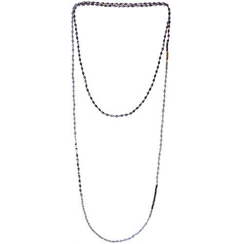KELITCH Crystal Pendant Necklace Handmade Long Double Layer Strand Beaded Necklace Women Gift Boho - Beaded Necklace Grey