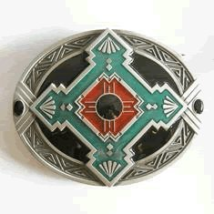 Native American Indian Art Belt Buckle (WT-059) from Ivory Falcon
