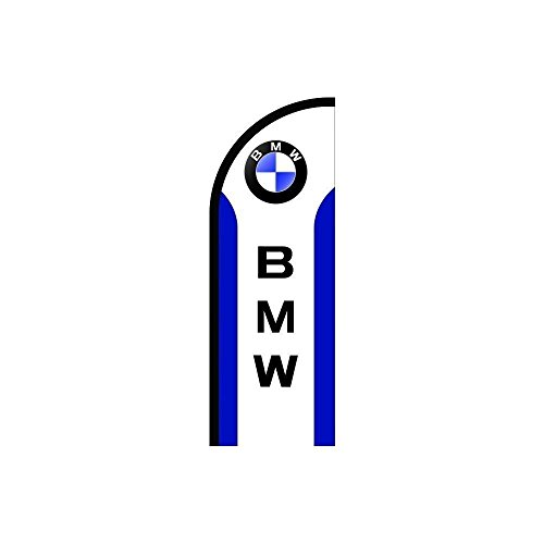 Above All Advertising, Inc. BMW Logo Sign Feather Flag in Blue White, Business Advertising Flags, Pre Printed Flutter Banner Flag Only (7.8' Feet)