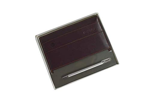 NoteShel Index Card Holder with Pen, Executive Note Card Organizer Genuine Leather