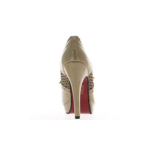 Talpe di donna Richelieux aperti in tacchi alti 12cm e piattaforma 2.5 cm