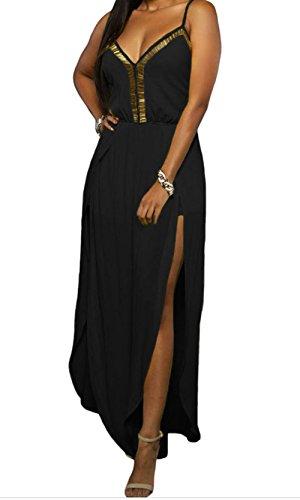 YeeATZ Gold Hardware Decor Leg Slit Crisscross Back Jumpsuit (Black,L) (Mime Masks For Sale)