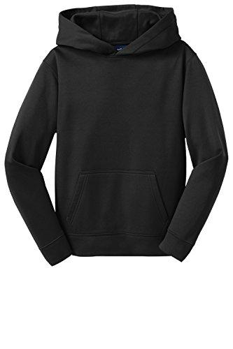 Sport-Tek Youth Sport-Wick Fleece Hooded Pullover>M Black YST244
