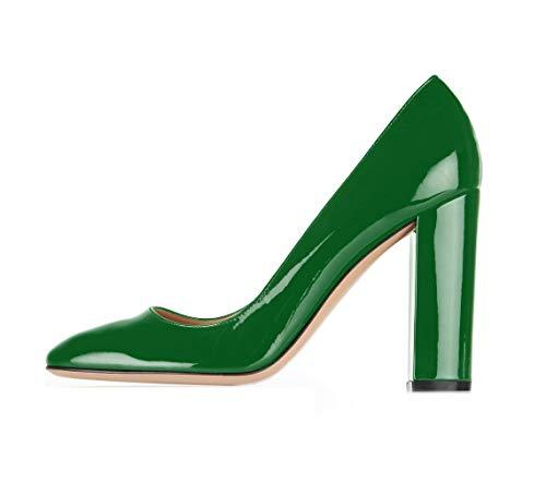 Sammitop Women's High Heel Pumps Almond Toe Dress Shoes Patent Green Chunky Heel Shoes US8 ()