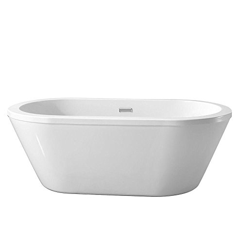 Schon Colton 5.25 ft. Center Drain Freestanding Bathtub in Glossy White (Free Standing Bathtub compare prices)