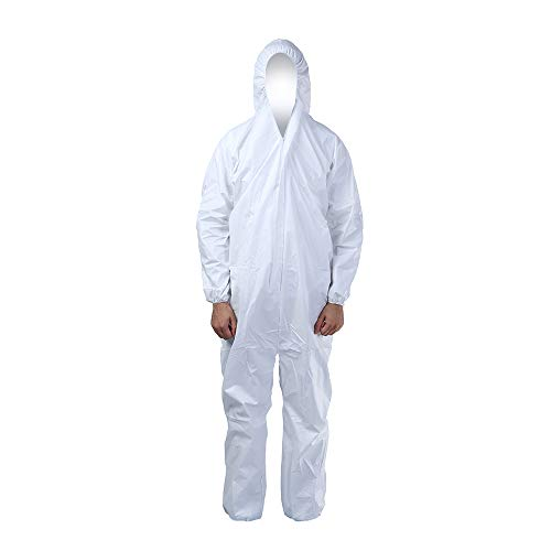 Cleaing Microporous Disposable Coveralls 2 Pack Paint Suit Protection with Elastic Cuffs, Ankles and Hood
