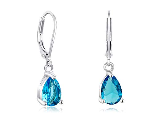 Buyless Fashion Girls And Women Teardrop Dangle Earrings With Leverback CZ Stone- ()