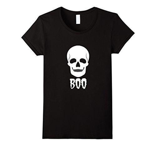 Womens Creepy Skull Halloween Boo T Shirt Gift Men Women Teens Kids Large Black - Teenage Halloween Ideas