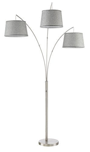 "Kira Home Akira 78.5"" Modern 3-Light Arc Floor Lamp with 3-Way Switch, Gray Burlap Shades + Brushed Nickel Finish - AESTHETIC STYLE: Multi-directional floor lamp elevates your home with its warm light & pre-assembled gray burlap shades. Easy access mechanical rotary knob/switch located on its body allows for 3 different brightness levels to fit your light preference UNIQUE, BRIGHT LIGHT FOR ANY ROOM: Place this tall elegant fixture in any area to brighten up your decor. Perfect to place behind a sofa, couch or sectional in the living room, next to a work space or table in the office, or in the corner of your bedroom UL LISTED FOR YOUR SAFETY: UL listed for dry locations. Uses (3) LED, CFL or up to 100W traditional incandescent medium base bulbs. Bulbs sold separately (Search: B01NCV900J) - living-room-decor, living-room, floor-lamps - 31qc bXWbZL -"
