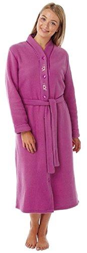 Womens Button Through Fleece Dressing Gown Robe With Belt By Lady Olga 4075 Fuchsia 20-22