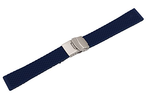 22mm Durable Watch Rubber Bands Smart Watch Belts Replacements Silicone in Blue with Quick Release Pins (Bands Watch Armitron Replacement)