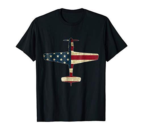51 Mustang Fighter Warbird Plane US Flag ()