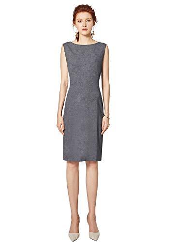 ROEYSHOUSE Women Sheath Cocktail Business Sleeveless Midi Casual Bodycon Ladies Dress Grey XXL