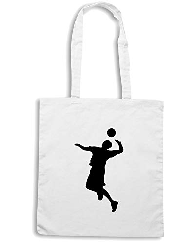 VOLLEYBALL SILHOUETTE Speed Borsa Bianca Shopper Shirt SP0147 Y7qYXg